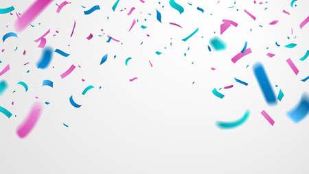 Colorful confetti isolated on white background. Falling festive confetti with motion blur. Celebration backdrop for your design. Vector illustration. Foto de archivo - 123061489