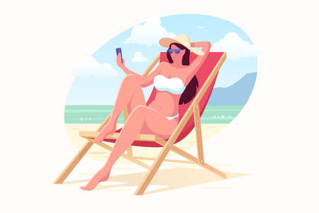 Beautiful girl in a swimming suit and hat sits on the beach in a sunbed and make selfie. Woman with smartphone relaxing on the beach. Summer vacation vector illustration. Flat style. Illustration