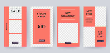Set of banner for social media stories in coral colors. Social networks story design elements. Applicable for product catalog, discount voucher, advertising. Vector eps 10 Foto de archivo - 122717157