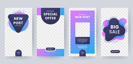 Set of banner for social media stories. Social networks story design elements. Applicable for product catalog, discount voucher, advertising. Vector eps 10 Foto de archivo - 122717158