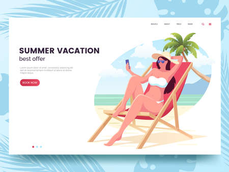 Summer vacation offer design. Woman with smartphone relaxing on the beach. Summer web page template. Travel agency advertising concept. Flat style. Vector illustration. Foto de archivo - 127785095