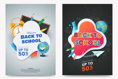 Back to school sale A4 poster design. Composition with text and colorful school supplies. Educational items. Dark chalkboard background. Elements for your design. Vector illustration. Ilustrace
