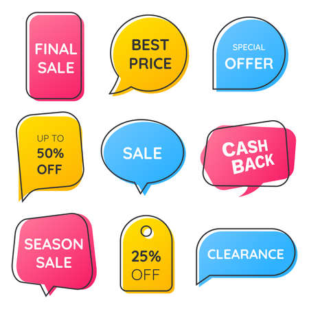 Geometric flat badges set with a thin outline. Colorful speech bubbles and banners for sale promotion. Marketing label collection. Decorative tags for discounts. Vector illustration. Иллюстрация