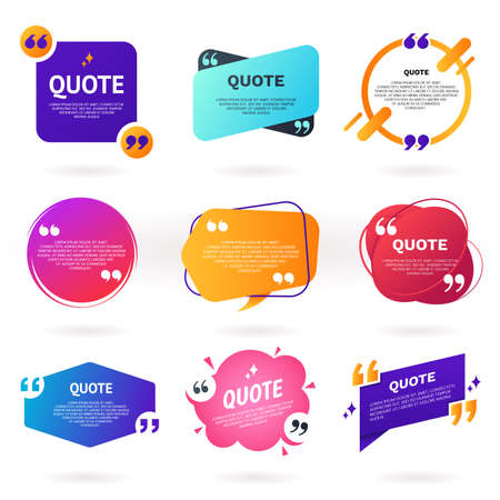 Collection of abstract colorful quote text boxes with quotes symbols. Geometric banner template in different styles. Speech bubble set. Remark frame for your design. Modern badges for promotion. Foto de archivo - 127785103