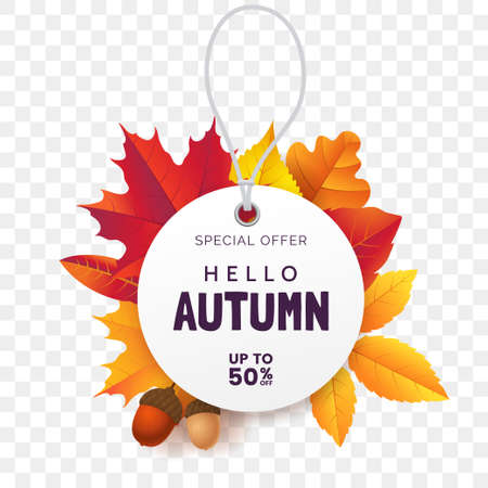 White round price tag against the background of fallen autumn foliage. Label for fall sale isolated on transparent background. Autumn promotion banner design. Vector illustration
