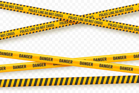 Yellow police tape isolated on transparent background. Crime scene tape vector illustration. Black and yellow police stripes. Danger zone designation. Element for your design.