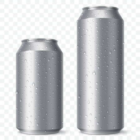 Blank beer can mock up with condensation droplets. Small and aig aluminium soda can isolated on transparent background. Realistic drink packaging. Vector eps 10.