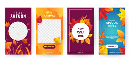 Set of autumn social media stories. Colorful autumn banners with fallen leaves and yellowed foliage. Backgrounds collection. Template for event invitation, product catalog, advertising. Vector eps 10