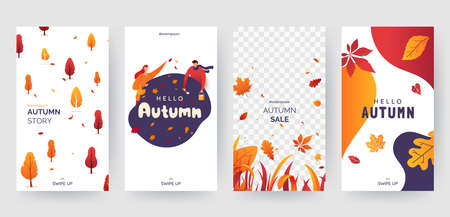 Set of autumn social media stories template. Colorful banners with autumn illustrations. Background collection with place for text. Concept for event invitation, promotion, advertising. Vector eps 10 Иллюстрация