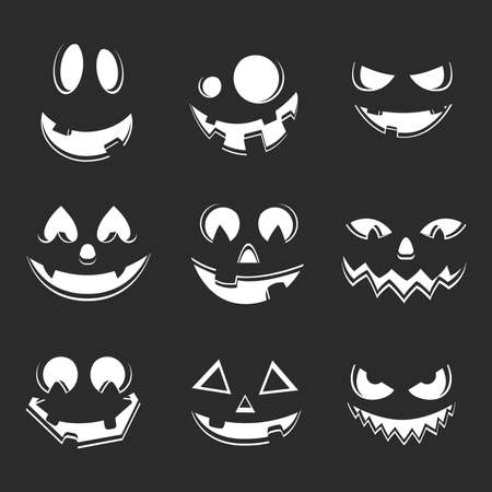 Set of pumpkin carving spooky face. Halloween scary faces collection. Jack o lantern smile silhouette. Funny and scary eyes and mouth. Halloween celebration traditional element. Vector Eps 10.