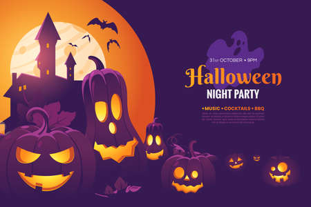 Halloween night party invitation poster design. Halloween illustration with scary pumpkins, castle in the moonlight and flying bats. Creepy background for your holiday design. Vector eps 10