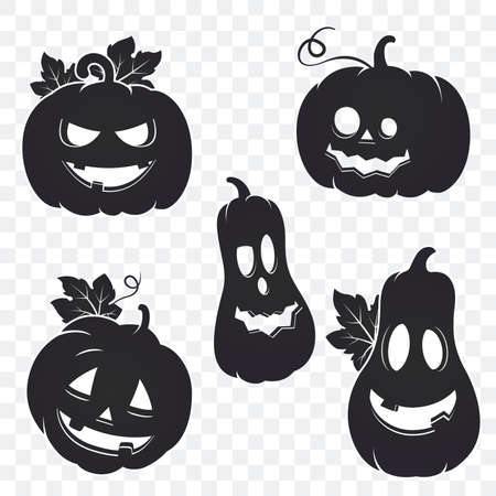Collection of Halloween pumpkin silhouette isolated on transparent background. Halloween gourd. Vector pumpkin with spooky face. Jack o lantern smile. Element for your design.
