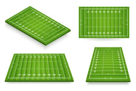 Ilustracja wektorowa boisko do futbolu amerykańskiego. Boisko do piłki nożnej ustawione pod różnymi kątami. Ikona stadionu na białym tle. Element projektu.