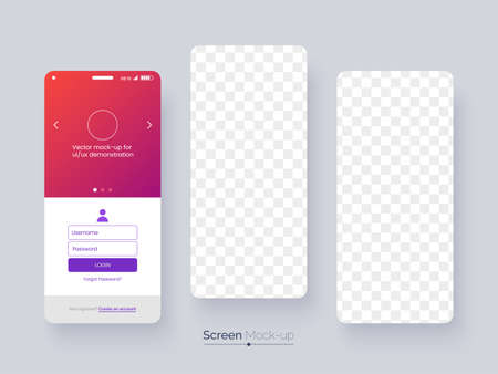 App screen mockup. Blank screen of mobile phones with soft falling shadow for user interface presentation. Smartphone mock-up. Application interface design concept. Vector eps 10.