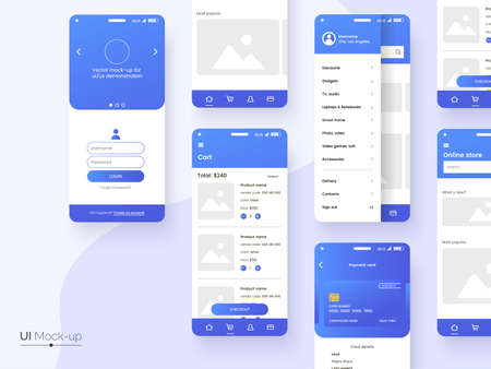 User interface design template in blue colors. Conceptual mobile phone screen mock-up for application interface presentation. UI, UX, GUI kit isolated on grey background. Vector eps 10.