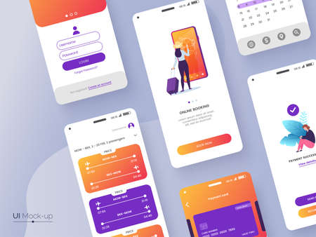 Conceptual mobile phone screen mock-up for application interface presentation. User interface design template. UI, UX, GUI concept isolated on grey background. Vector eps 10.