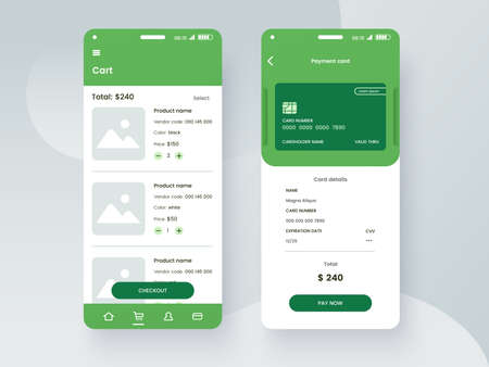 Conceptual mobile phone screen mock-up for application interface presentation. User interface design template in green colors. Online payment GUI concept isolated on grey background. Vector eps 10.