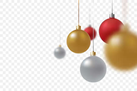 Hanging Christmas balls close up isolated on transparent background. Gold, red and silver xmas balls with defocused effect. Traditional decoration for the winter holidays. Vector illustration. Иллюстрация