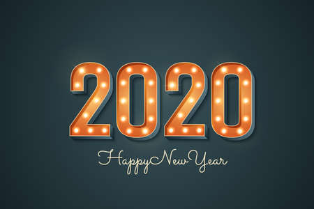 2020 sign with light bulb. Happy new year greeting card with 3d retro font. Bright vintage marquee 2020 signboard isolated on dark background. Vector illustration.