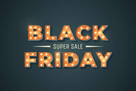 Black Friday sale retro sign with light bulb. Vintage marquee sign on dark background. Super sale special offer. Promo banner. Element for your design. Vector illustration Иллюстрация
