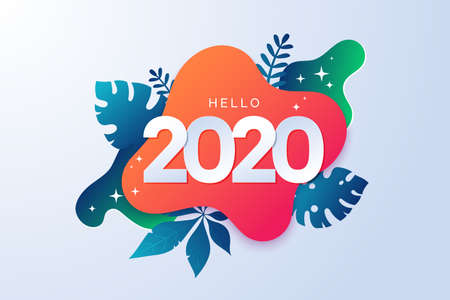 Happy new year 2020 abstract sign with tropical elements. Colorful 2020 banner in paper cut style. Geometric background with tropic leaves. Promo badge for your seasonal design.Vector illustration. Иллюстрация