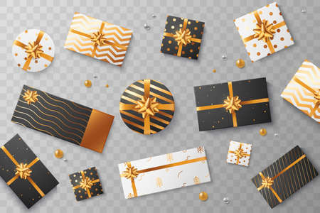 Christmas gift boxes isolated on transparent background. Scattered white and black gift box with golden ornament, ribbon and bow. Top view. Xmas surprise . Element for your design. Vector illustration