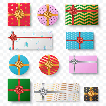Set of colorful gift box isolated on transparent background. Top view. Christmas gift boxes collection with different pattern and big bow. Surprise box. Element for your festive design. Vector eps 10