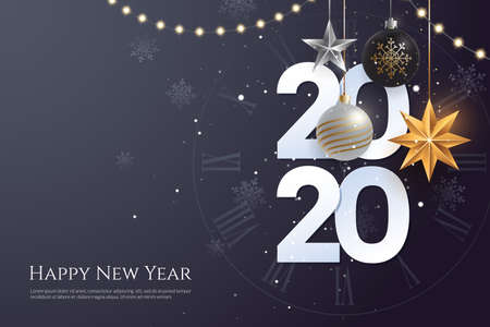 Happy new year 2020 greeting card template with copy space. Hanging Christmas toys and garlands with light bulbs on dark background. Winter Holiday banner concept. Vector eps 10. Иллюстрация