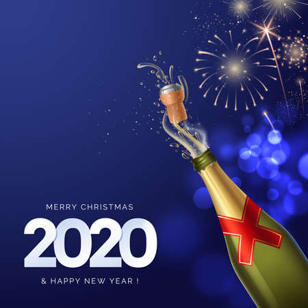2020 Happy New Year greeting card design. Shot of champagne on fireworks background. New Year Celebration. Dark blue backdrop with bokeh effect. Vector illustration