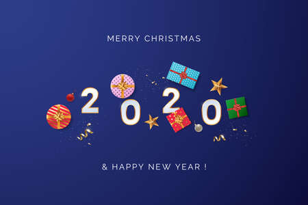 Happy new year 2020 greeting card design concept. White 2020 text with scattered Christmas gift boxes, golden confetti, and xmas balls. Top view. Blue background in minimal style. Vector illustration