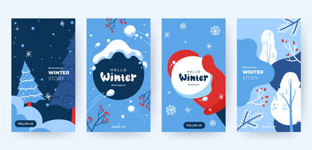 Set of abstract winter backgrounds for social media stories. Colorful winter banners with falling snowflakes, snowy trees. Wintry scenes . Use for event invitation, discount voucher, ad. Vector eps 10 일러스트
