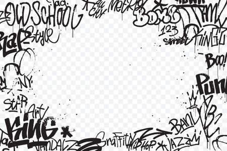Borde de etiquetas de graffiti aislado sobre fondo transparente. Decoración de arte callejero abstracto. Textura de dibujo a mano de graffiti. Elemento para banner, diseño de camisetas, textil, papel de regalo. Ilustración vectorial Ilustración de vector