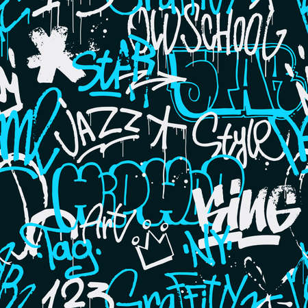 Vector graffiti seamless pattern in blue and white color isolated on dark background. Abstract graffiti tags and throw up pieces background. Use for poster, t-shirt design, textile, wrapping paper. Ilustrace