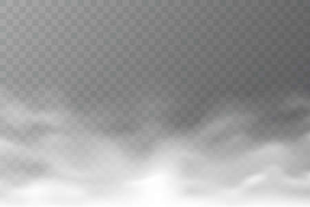 Vector smoke cloud isolated on transparent background. Realistic dense fog. Abstract steam effect for your design. White haze. Vector illustration. Vettoriali
