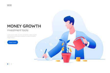 Money growth vector illustration. Man in a suit watering a plant with golden coins. Financial investment concept. Accounting manager. Web banner design for investment service. Flat style.