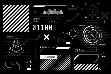 Vector HUD graphic in futuristic style. High tech interface elements for your design. Digital touch screen. Sci-fi user interface builder collection. Black and white colors. Vector illustration.