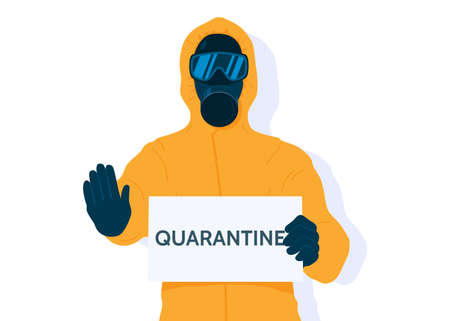 Quarantine vector illustration. Man in yellow protective hazard suit and mask with a quarantine sign isolated on white background. Coronavirus epidemic. Cartoon flat style.