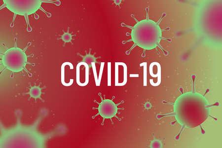 Coronavirus vector illustration. Viruses under the microscope. COVID -19 pandemic. Large round bacteria. Close-up view.