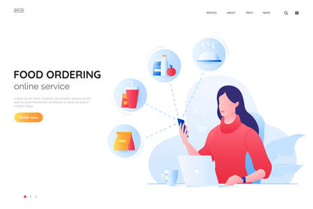 Order food online vector illustration. Girl at a laptop orders food over the Internet. Home delivery web page concept.