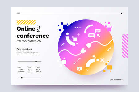 Invitation web banner to the online conference. Business webinar invitation design. Announcement poster concept. Modern abstract technology background  place for text. Vector  .