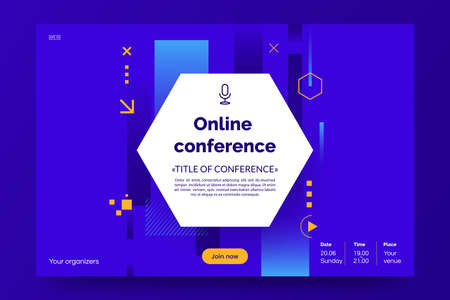 Invitation banner to the online conference. Business webinar invitation design. Announcement poster concept. Modern abstract background with place for text. Vector eps 10. 矢量图像