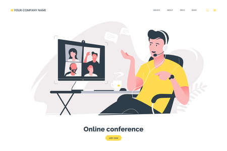Online conference flat illustration. Man using computer to have video call. Video conferencing concept. Remote work in the home office. Vector  .