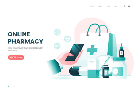Online pharmacy flat illustration. Medicine ordering mobile app. Medical supplies, bottles liquids and pills. Drug store web page concept. Vector eps 10.