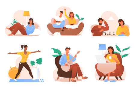 People sitting at home vector illustration. Young men and women spending time at home - read books, play video games, work, doing fitness, etc. Domestic life. Self isolation. Flat cartoon style.  イラスト・ベクター素材
