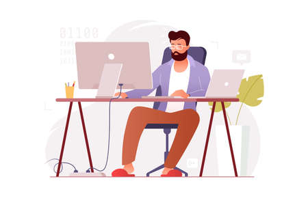 Programmer works at home at the computer. Remote work in the home office. IT specialist freelancer. Colorful vector illustration in flat cartoon style. 向量圖像
