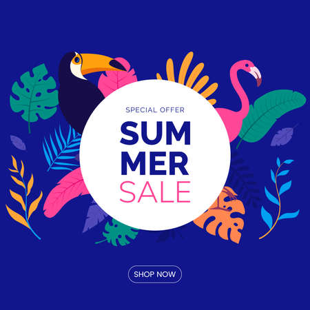 Summer sale banner template. Text box with leaves and tropical birds in flat style. Hawaiian tropical poster. Promo badge for your seasonal design. Vector illustration.