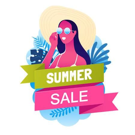 Summer sale banner with beautiful girl in sunglasses and a beach hat. Summer holidays poster. Promo badge for your seasonal design. Vector illustration. 矢量图像