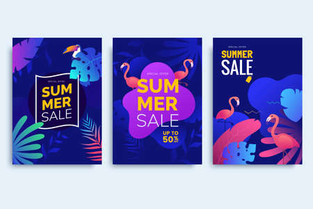 Summer promotion poster collection in neon colors. Summer posters with colorful tropical leaves, birds. Use for product catalog, event invitation, discount voucher, advertising. Vector illustration 矢量图像