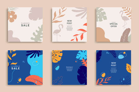 Summer templates for promo posts on social media networks. Colorful summer banner set with tropical leaves in minimal style. Stories template bundle. Use for product catalog, discount voucher, ad.