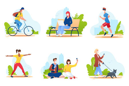 People spend time in a city park. People in medical protective masks walk in nature, ride a bike, play sports, relax, etc. Summer outdoor activities. Social distance. Vector illustration. 矢量图像